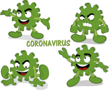 Vector illustration of cartoon coronavirus in different positions Ilustracja