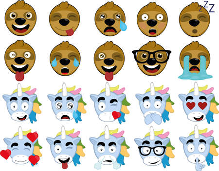 Vector illustration of face expressions of unicorns and sloths Standard-Bild - 150809678