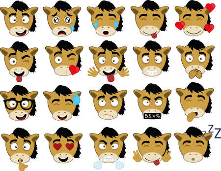 Vector illustration of cartoon horse face expressions