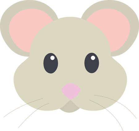 Vector emoticon illustration of a cartoon mouse