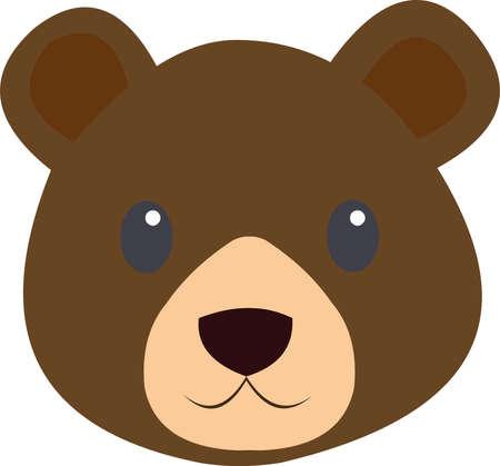 Vector illustration of a bear's face cartoon Vettoriali