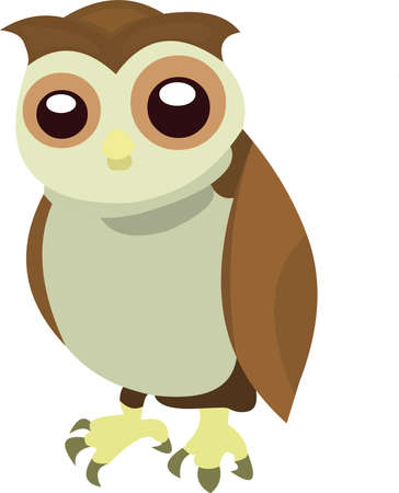 Vector illustration a cartoon owl