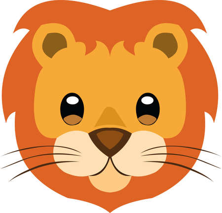 Vector illustration the face of a cute lion cartoon 矢量图像