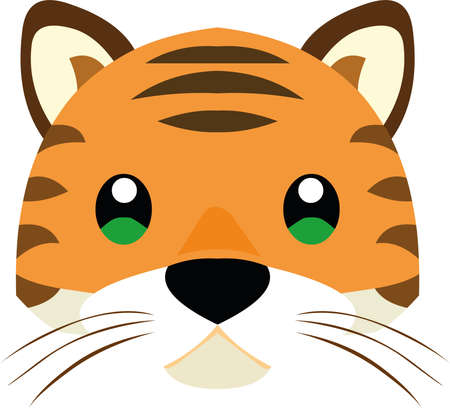 Vector illustration the face of a cute tiger cartoon 矢量图像