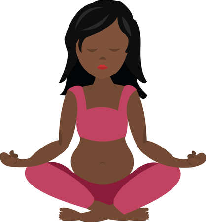 Vector illustration of a pregnant woman doing yoga Ilustração Vetorial