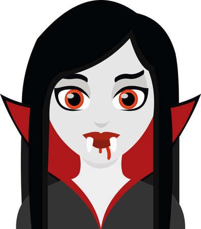 Vector emoticon illustration of a cartoon vampire woman