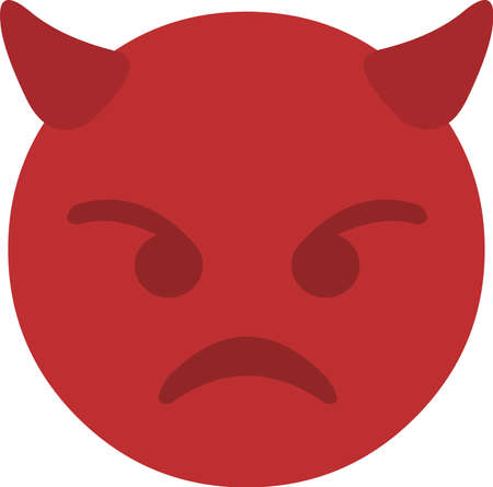 Vector illustration of an emoticon of the face of a funny little devil