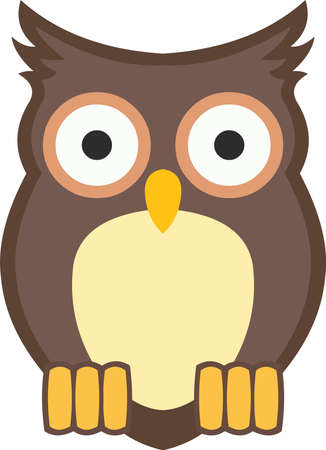 Vector illustration of a cartoon owl