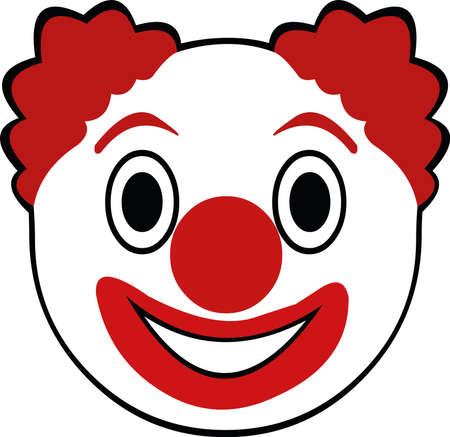 Vector illustration of the face of a cute cartoon clown