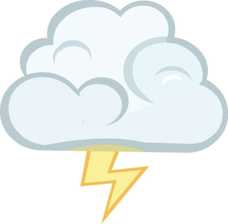 Vector emoticon illustration of a cloud with lightning