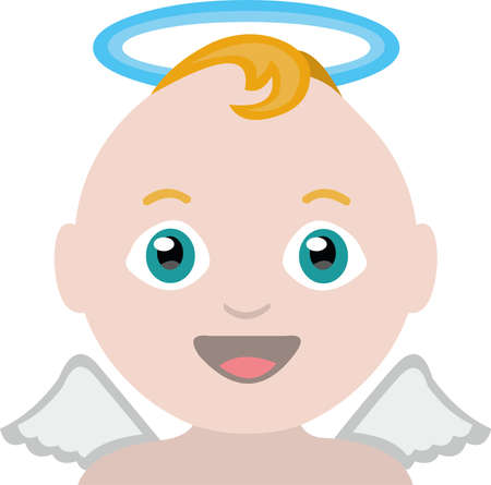 Vector emoticon illustration of a baby angel Vetores