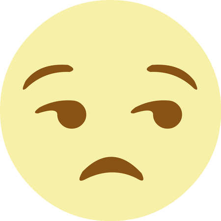 Vector illustration of a yellow emoticon with a disgruntled expression Ilustrace