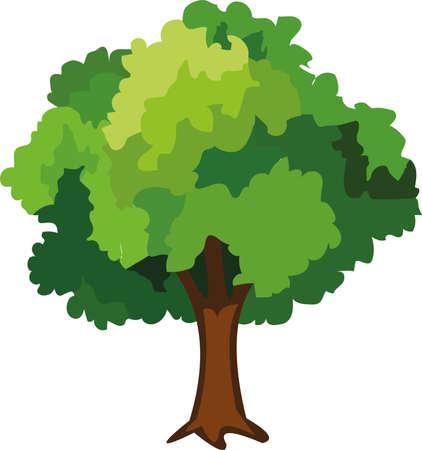 Vector illustration of a tree emoticon
