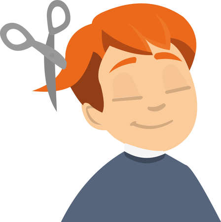 Vector illustration of a boy with a haircut