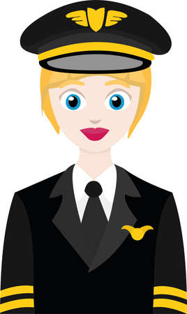 Vector illustration of a female airplane pilot