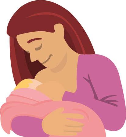 Vector illustration of a breastfeeding mother 矢量图像