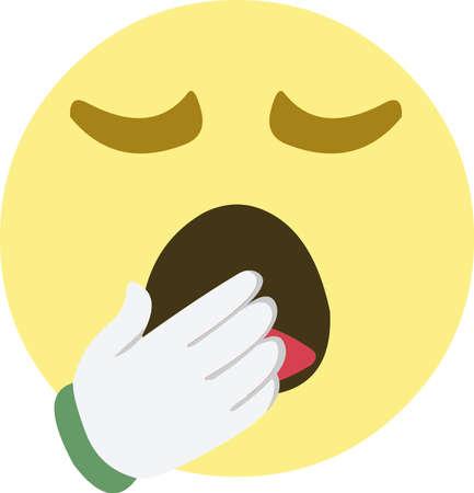 Vector illustration of yawning emoji 矢量图像