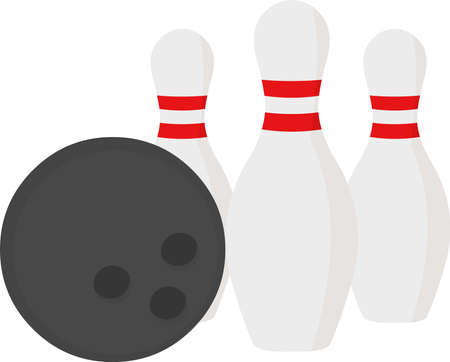 Vector illustration of pins and a bowling ball