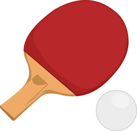 Vector illustration of table tennis racket and ball emoticon