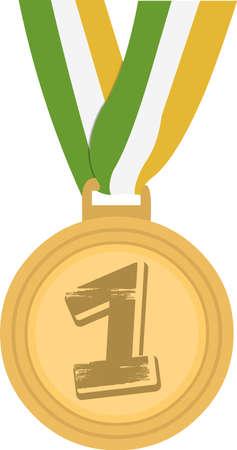 Vector emoticon illustration of a first place medal Illustration