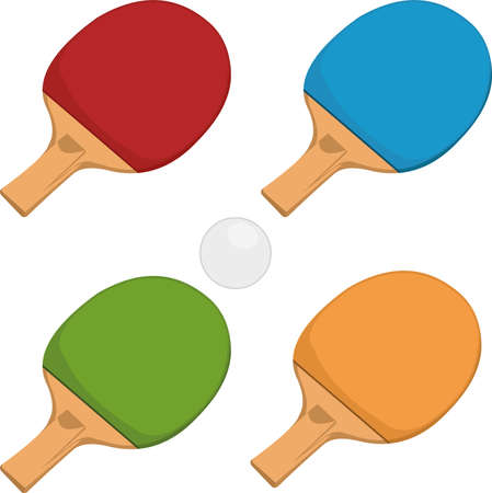 Vector illustration of table tennis rackets and a ball Illustration