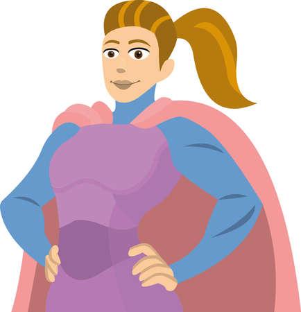 Vector illustration of emoticon of a super heroine