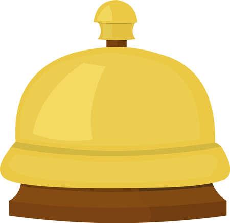 Vector illustration of emoticon bellhop bell