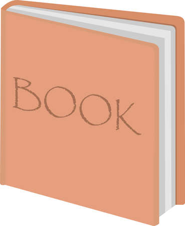 Vector illustration of emoticon of a orange book