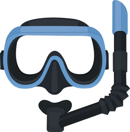 Vector illustration of diving mask and snorkel emoticon Stock Illustratie