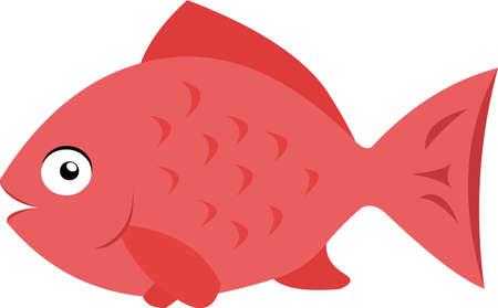 Vector emoticon illustration of a pink fish Illustration