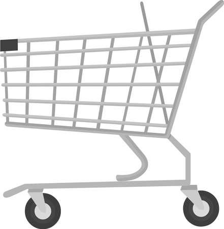 Vector emoticon illustration of a supermarket cart
