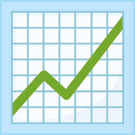 Vector emoticon illustration of a growth statistics graph