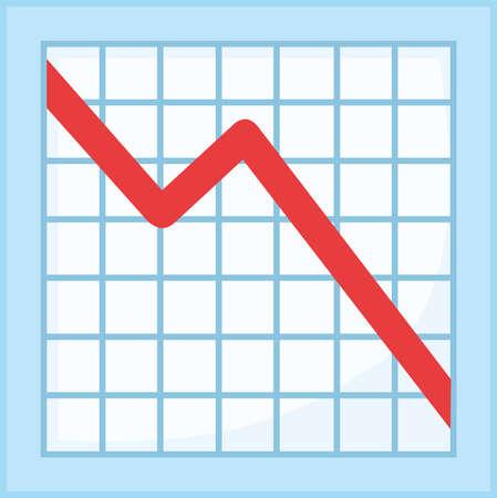 Vector emoticon illustration of a decrease graph