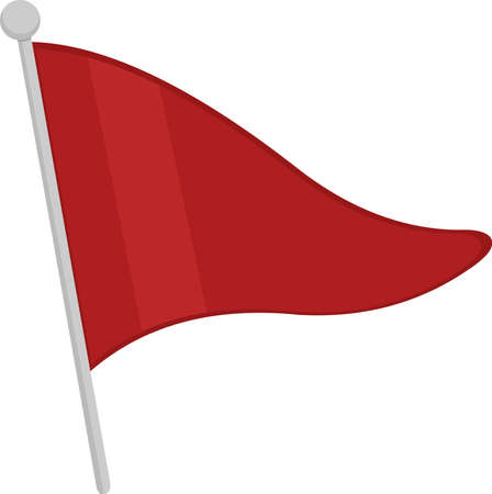 Vector emoticon illustration of a red triangular flag