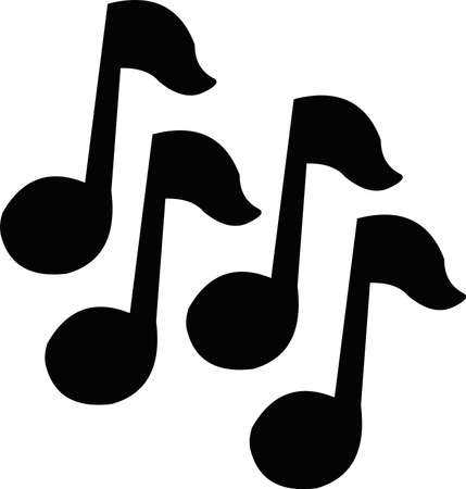 Vector illustration of musical notes silhouettes