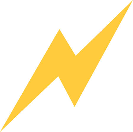 Vector illustration of yellow lightning emoticon