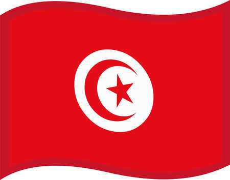 Vector illustration of emoticon of Tunisia flag