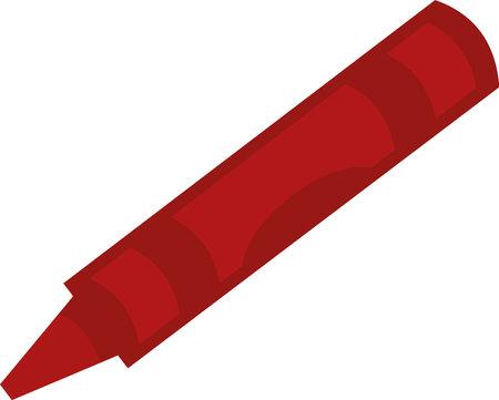 Vector emoticon illustration of a red crayon