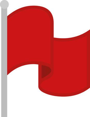Vector emoticon illustration of a red flag