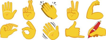 Vector illustration of emoticons of hands with different gestures Ilustração Vetorial
