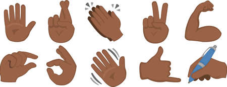 Vector illustration of emoticons of hands with different gestures