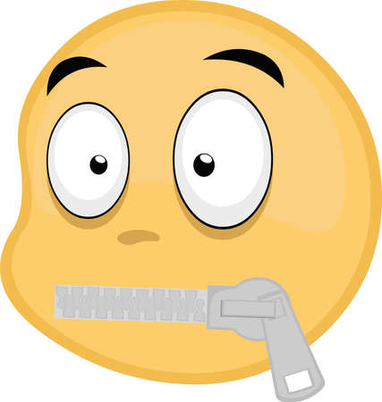 Vector illustration of emoticon with a closed mouth with a zipper Stock Illustratie