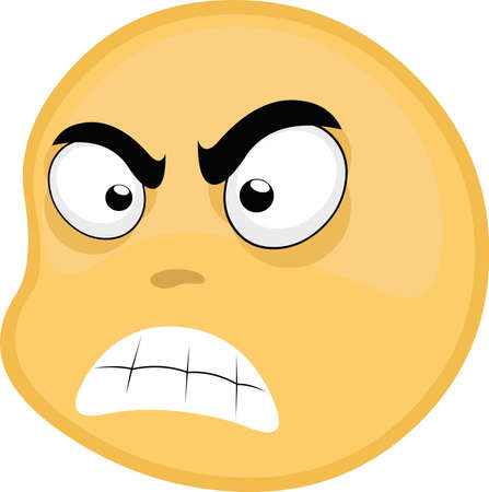Vector illustration of emoticon with an angry expression