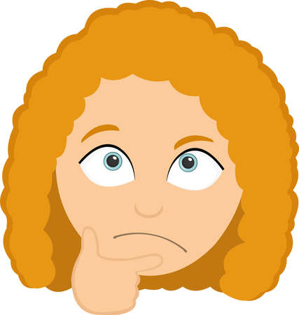 Vector emoticon illustration of a girl's head with her hand on her face, with a thinking expression