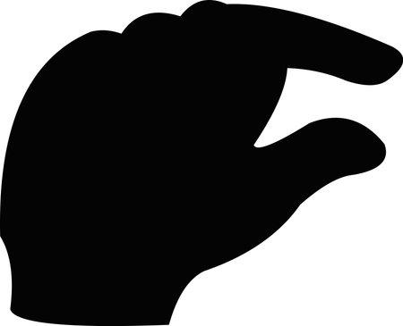 Vector illustration of a black silhouette of a hand with a gesture of quantity Ilustração Vetorial