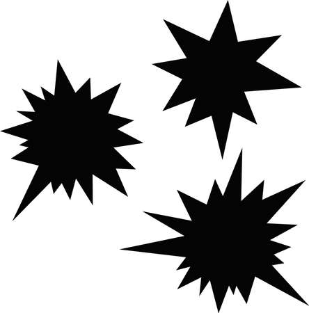Vector illustration of explosive collision silhouettes