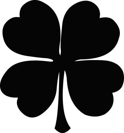 Vector illustration of black silhouette of a four leaf clover Banque d'images - 167045156