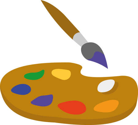 Vector illustration of a brush and a palette of classic artists colors