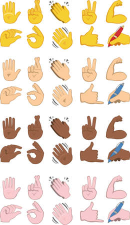 Vector illustration of emoticons of various hands with different gestures and in different colors