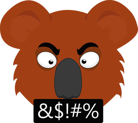 Vector emoticon illustration of the face of an angry and insulting cartoon koala
